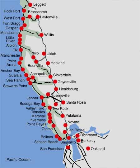 Map Northern California Coast Scenic Drives